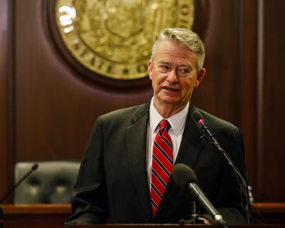 Idaho Gov. Brad Little talks to reporters at the Idaho  Capitol Building Friday, Jan. 3, 2020 in Boise. (Otto Kitsinger / Associated Press)