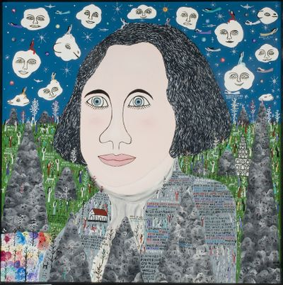 """""""George Washington Looked into Another World"""" was painted by Howard Finster, who made prophecies of other worlds created by God. It's part of the show """"Amen Amen"""" at the Jundt."""
