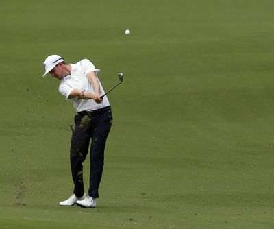 Jonas Blixt hits from the 18th fairway during the second round of the Charles Schwab Challenge golf tournament at Colonial Country Club in Fort Worth, Texas, on Friday. (Bob Booth / Associated Press)