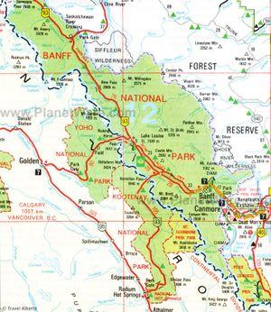 Map of Banff National Park, Alberta.