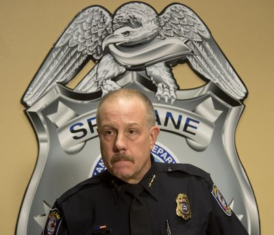 FILE – Spokane Police Chief Frank Straub answers questions about the arrest of murder suspect Timothy E. Suckow during a press briefing, Jan. 14, 2014 at the Public Saftey Building. (Dan Pelle / The Spokesman-Review)