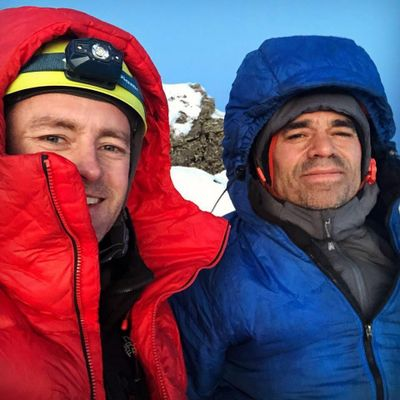 Jess Roskelley (left) and Scott Coldiron pose for a photo after successfully climbing, for the first time, a 2,600-foot route in the Cabinet Mountains.