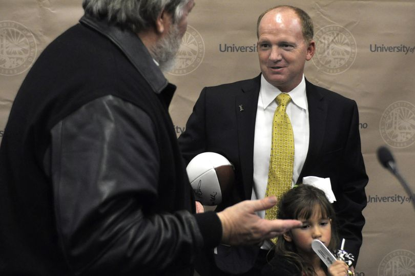 Fans got a chance to meet and greet new Idaho football coach Paul Petrino on Monday after his introduction at the Kibbie Dome in Moscow. (DEREK HARRISON)