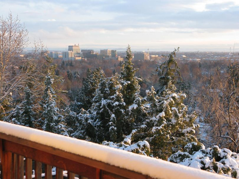 Boise on Dec. 24, 2015, with clearing skies and a blanket of fresh snow (Betsy Z. Russell)