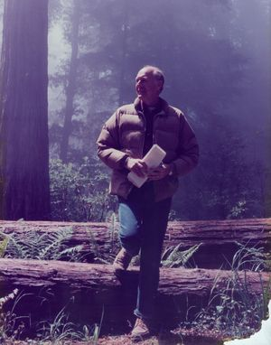 Cecil Andrus -- governor of Idaho in 1971-1977 and 1987-1995 and Interior secretary in 1977-81 -- pauses in the Redwoods in the mid-1970s. 