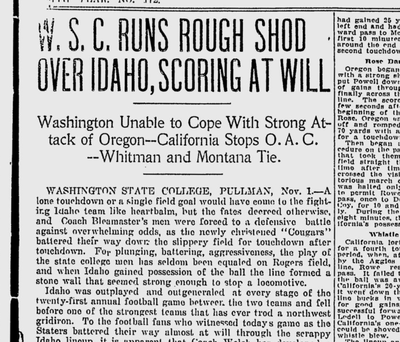 """A correspondent in Pullman said that Idaho was """"outplayed and outgeneraled at every stage of the 21st annual football game between the two teams."""" (SR archives)"""
