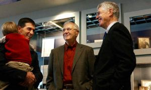 Tuesday's Inland Northwest Sports Hall of Fame inductees at the Arena included (left to right): John Stockton, who is holding son Samual, Jack Spring and Ed Sharman.   (Kathryn Stevens / The Spokesman-Review)