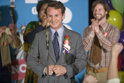 ORG XMIT: NYET377 **FOR USE AS DESIRED**  In this image released by Focus Features, Sean Penn portrays gay rights activist Harvey Milk in a scene from in a scene from,