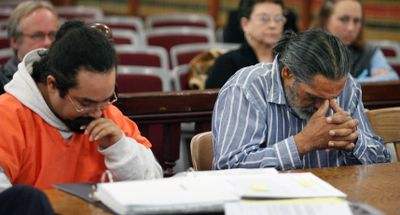 Kenneth Quintana, left, and Robert Aragon are seen at their hearing Friday in Shoshone, Idaho. Aragon is charged with involuntary manslaughter in the death of his 11-year-old daughter.  (Associated Press / The Spokesman-Review)