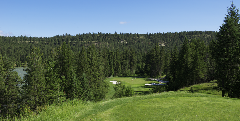 No. 13 at St. Eugene sports an 80-foot drop in elevation from tee to green (Courtesy photo)