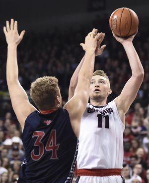 Gonzaga forward Domantas Sabonis (11) shoots over Saint Mary's during the second half of a college basketball game on Saturday, Feb 20, 2016, at The McCarthey Athletic Center in Spokane, Wash. (Tyler Tjomsland / The Spokesman-Review)