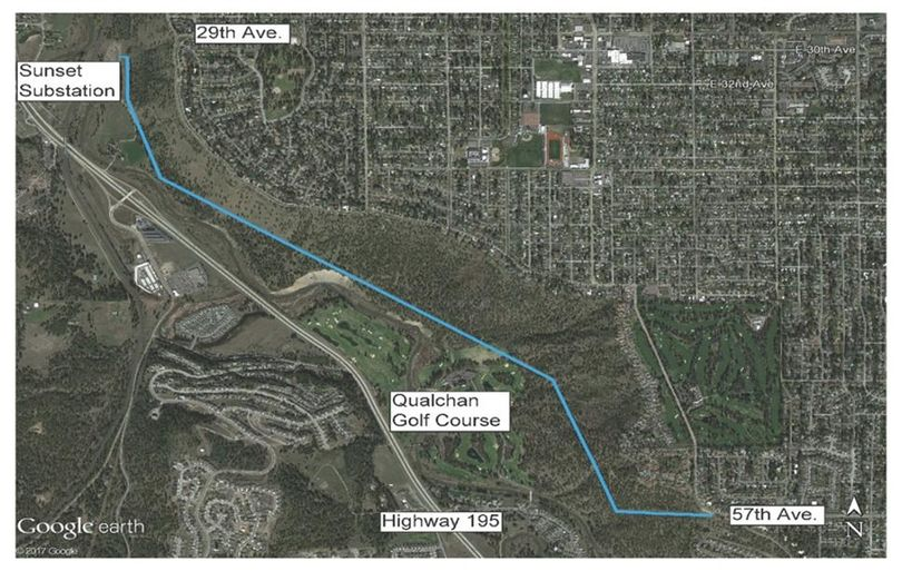 Map shows Avista's transmission line through Spokane's South Hill bluff. (Avista)