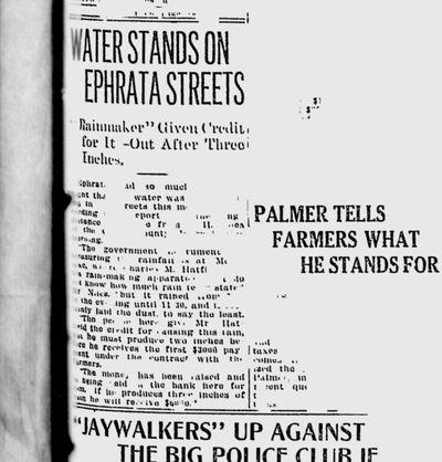 """Acorrespondent reported that """"Ephrata had so much rain last night that water was still standing on the streets this morning."""" (Spokane Daily Chronicle archives)"""