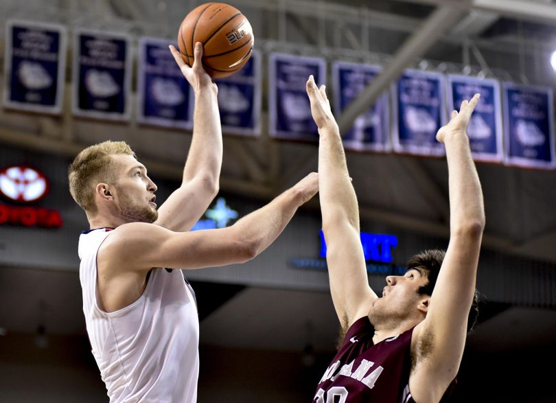 Gonzaga forward Domantas Sabonis (11) shoots over Montana during the second half of a college basketball game on Tuesday, Dec 8, 2015, at McCarthey Athletic Center in Spokane, Wash. (Tyler Tjomsland / The Spokesman-Review)