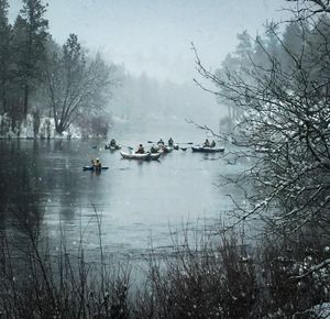 Members of the Northwest Whitewater Association and Spokane Canoe and Kayak Club float the Spokane River in their annual New Years Day event. (Kate Pogue Rau)