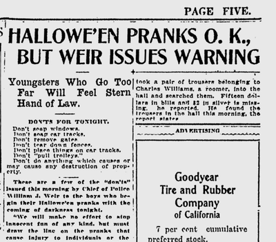Spokane had a long record of mayhem on Halloween, and the police chief said he would have plenty of officers ready to make arrests. (Spokane Daily Chronicle archives)
