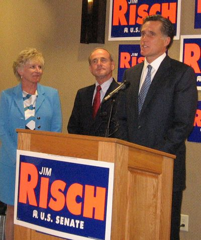 Mitt Romney, right, was in Boise  on Wednesday to campaign for Jim Risch, a GOP candidate for the U.S. Senate seat now held by Sen. Larry Craig. Vicki Risch is on the far left.  (Betsy Russell / The Spokesman-Review)