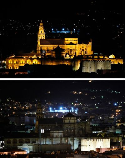 In this combination, two photos show the Mosque of Cordoba in Cordoba, Spain, before lights were turned off, at top, and after the lights are turned off, at bottom, during the worldwide  Earth  Hour, a global campaign to highlight the threat of climate change on March 27, 2010.  (Associated Press)