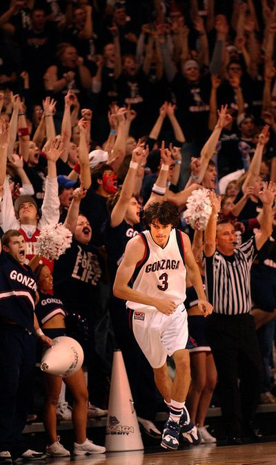 Adam Morrison gets the crowd off their feet with one of several late 3-pointers against Stanford on Saturday, Feb. 11, 2006, in Spokane. (Brian Plonka / The Spokesman-Review)