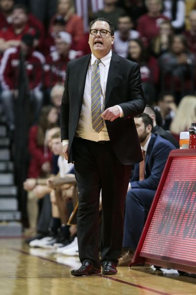 In this Nov. 9, 2018 photo, Montana State coach Brian Fish calls to his team during the first half of an NCAA college basketball game against Indiana in Bloomington, Ind. Fish's contract was not renewed after Montana State went 65-92 over the past five seasons. (AJ Mast / Associated Press)