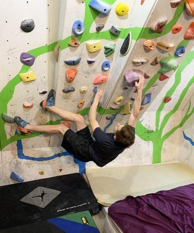 Climber Colin Duffy trains on the wall in his basement. (Duffy family / Handout)