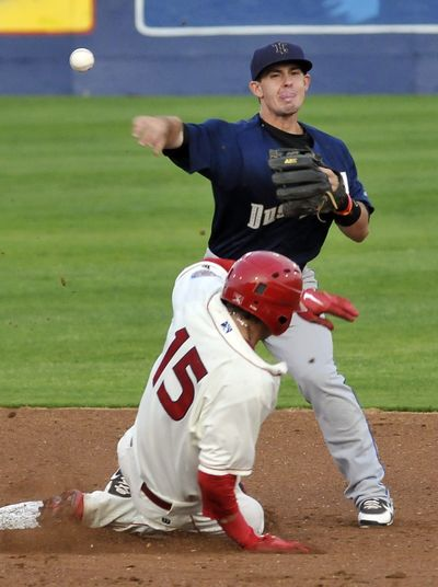 Spokane Indians' Joe Maloney tries to break up the double play, but Tri-City Dust Devils second baseman Zach Osborne gets the throw off in time Tuesday at Avista Stadium. (Jesse Tinsley)