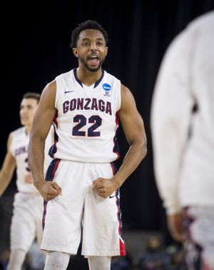 After scoring 2-points, Gonzaga guard Byron Wesley (22) celebrates as timeout is called during the first half of an NCAA Sweet Sixteen tournament men's basketball game at NRG Stadium, Friday, March 27, 2015, in Houston, Texas. (The Spokesman-Review)