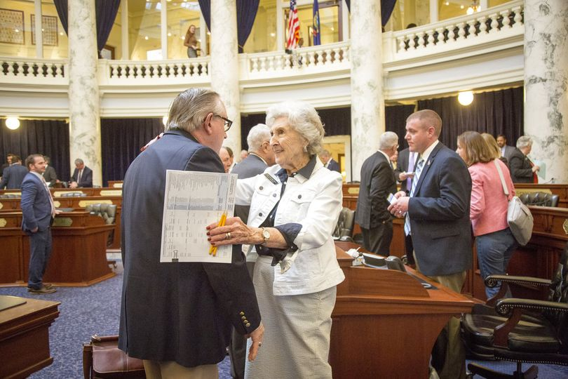 Rep. Maxine Bell, R-Jerome, says farewell to Patrick McDonald, R-Boise, as the House adjourns and Bell retires after nearly 30 years. The Idaho Legislature adjourned late Wednesday, March 28, 2018. (AP/Idaho Statesman / Katherine Jones)