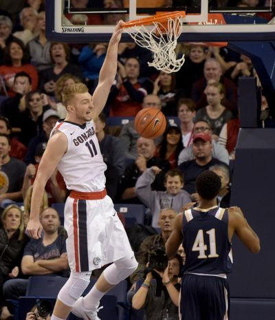 Gonzagas Domantas Sabonis scored 15 points and pulled down 14 rebounds in win over Mount St. Mary's last Saturday. (Rajah Bose / The Spokesman-Review)