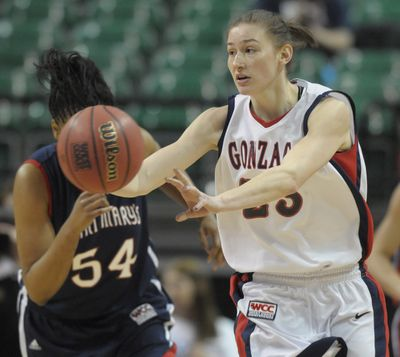 Katelan Redmon, who scored 17 points for Gonzaga, throws an outlet pass to start the fast break during the Bulldogs' 72-46 victory over Saint Mary's in the WCC women's championship game in Las Vegas on Monday. (Christopher Anderson)