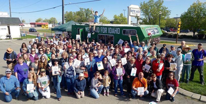 Volunteer signature gatherers for the Medicaid expansion initiative celebrate. (Reclaim Idaho)