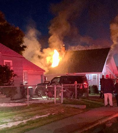 Spokane firefighters extinguished an attic blaze in the Bemiss neighborhood on Thursday, Oct. 10, 2019. No injuries were reported in the fire. (Spokane Fire Department / Courtesy)