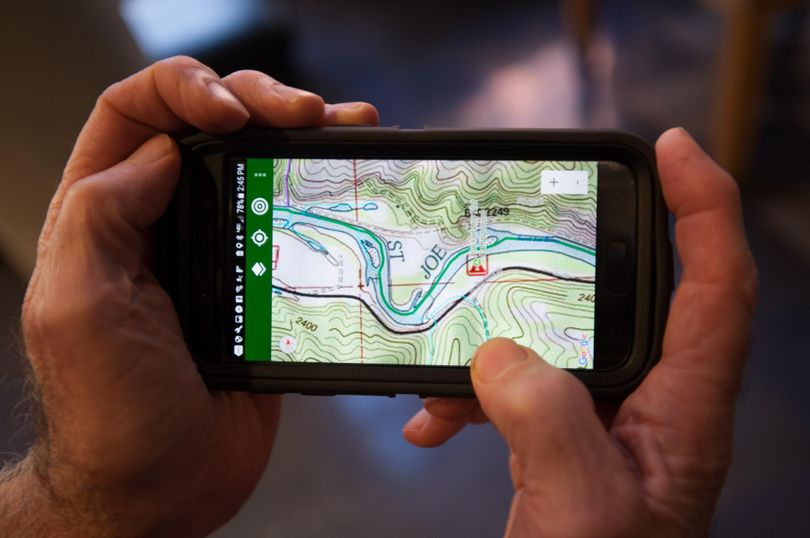 Stream Map USA, a GPS mapping app for mobile devices, puts locations, directions, flow and other information at the fingertips. of a boater or angler. (Tyler Tjomsland / The Spokesman-Review)