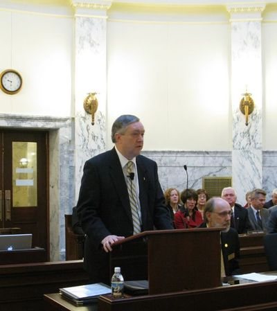 Duane Nellis, president of the University of Idaho, tells lawmakers that higher education is even more important to the state during times of significant economic difficulty. The UI has taken $22 million in budget cuts in the past two years, and more cuts loom. (Betsy Russell)