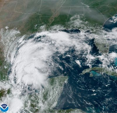 This satellite image provided by NOAA shows Tropical Storm Nicholas in the Gulf of Mexico on Sunday, Sept. 12, 2021. Tropical storm warnings have been issued for coastal Texas and the northeast coast of Mexico. Nicholas is expected to produce storm total rainfall of 5 to 10 inches, with isolated maximum amounts of 15 inches, across portions of coastal Texas into southwest Louisiana Sunday, Sept. 12 through midweek.  (HOGP)