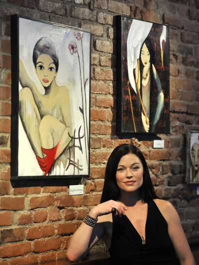 Piper Swaney paints Asian-inspired figurative pieces mixed with herons and cranes. These are on display at Agave restaurant in downtown Spokane. (Dan Pelle)