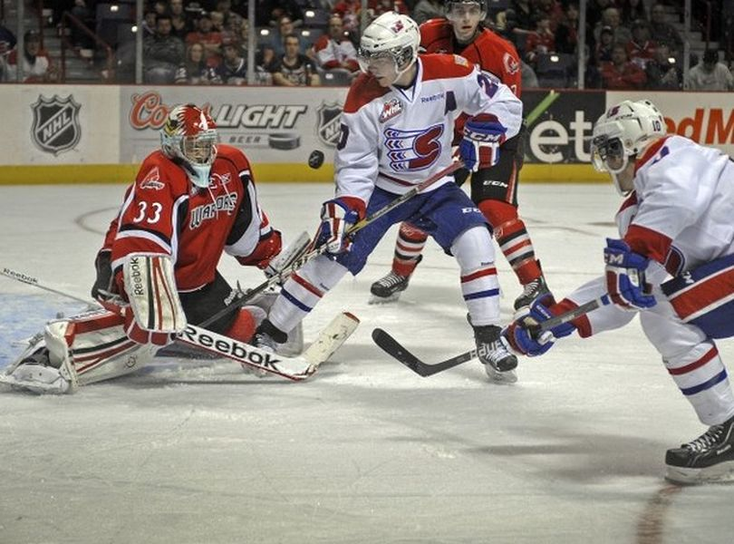 The Spokane Chiefs' relentless effort paid off on Friday, January 6th in a 5-2 victory over the East Division-leading Moose Jaw Warriors. (Chris Anderson/The Spokesman-Review). (Christopher Anderson)