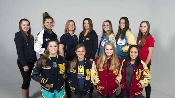 The 2015 All-Greater Spokane League gymnastics team, featuring Mead's Hanna Bjerkestrand (front row, left). Bjerkestrand takes over as head coach at Mead, replacing veteran coach Laurie Chadwick. (Dan Pelle / The Spokesman-Review)