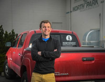 Spokane physical therapist Trey Nichols started his mobile practice, Northwest Mobile Physical Therapy Specialists, after being laid off during the pandemic. He also has opened a treatment room at The Wellness Center at North Park.  (DAN PELLE/THE SPOKESMAN-REVIEW)