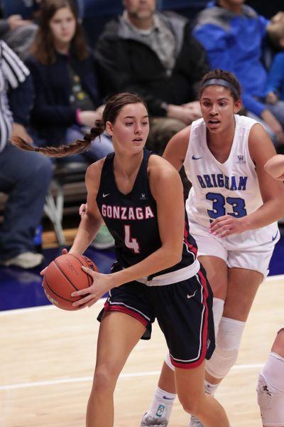 Gonzaga forward LeeAnne Wirth drives to the basket against BYU on Thursday  in Provo, Utah. (BYU / Courtesy)
