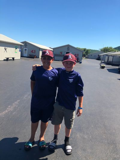 Milo Condran, right, with his friend Justin Muttreja in Cooperstown, N.Y., in 2018.  (Courtesy of Ed Condran)
