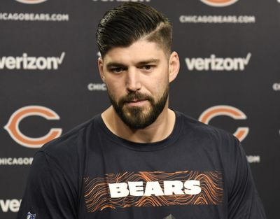 Chicago Bears tight end Zach Miller talks to the media before practice at the NFL football team's workout Tuesday, June 5, 2018, in Lake Forest, Ill. The Bears have placed Miller on the physically unable to perform list one day after he signed a one-year contract. The team announced the move Tuesday. Miller is attempting to return from a gruesome injury last October that nearly cost him his left leg.(AP Photo/David Banks) ORG XMIT: ILDB103 (David Banks / AP)