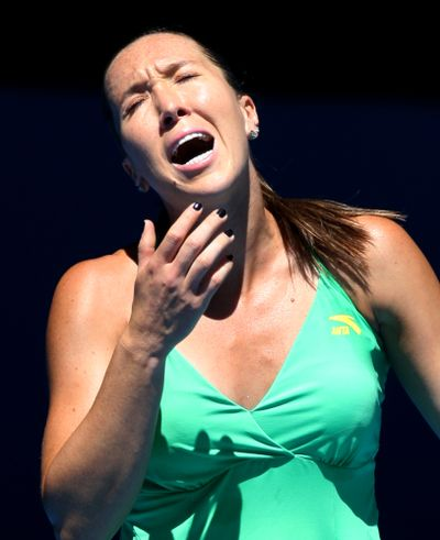 Serbia's Jelena Jankovic reacts after losing a point.  (Associated Press / The Spokesman-Review)