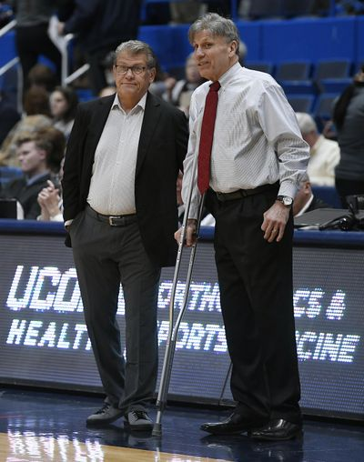 DePaul head coach Doug Bruno, right, has the Demon Deacons off to a 5-3 start and a No. 20 ranking. (Jessica Hill / AP)