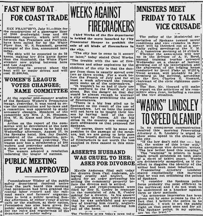 Spokane's fire chief made a controversial request: Ban firecrackers in the city, the Spokane Daily Chronicle reported. (Spokane Daily Chronicle archives)