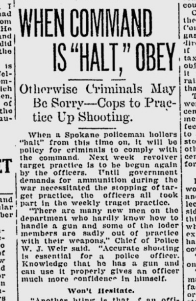Spokane police had resumed their weekly target practice this week 100 years ago, after a run on ammunition during the war had suspended the practice for several years.  (S-R archives)