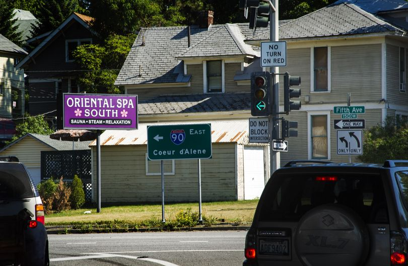 Eight suspected brothels, including the Oriental Spa South at 515 S. Maple Ave., were raided across the Spokane area July 10, 2012, by a multi-agency law enforcement task force. (Colin Mulvany / The Spokesman-Review)