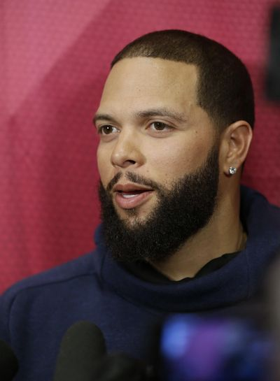Cleveland Cavaliers' Deron Williams talks with the media before an NBA basketball game between the Milwaukee Bucks and the Cavaliers, Monday, Feb. 27, 2017, in Cleveland. Williams, an Olympian and three-time All-Star who has never made it to the NBA Finals, signed as a free agent on Monday with the Cavs, giving the defending champions the backup point guard they've coveted and another playmaker to help them defend their title. (AP Photo/Tony Dejak) ORG XMIT: OHTD101 (Tony Dejak / AP)