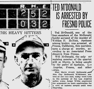 """California authorities now believed that the two McDonald brothers """"were the ones who actually committed the murder and disposed of the body on the murdered man's ranch"""" near Newport, the Chronicle reported. (Spokane Daily Chronicle archives)"""