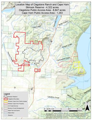 Map shows easements involved in the 13,169-acre Clagstone Meadows area in Bonner County. Public access points will be identified before the area is opened to public access on Aug. 1, 2017. (Idaho Department of Fish and Game)